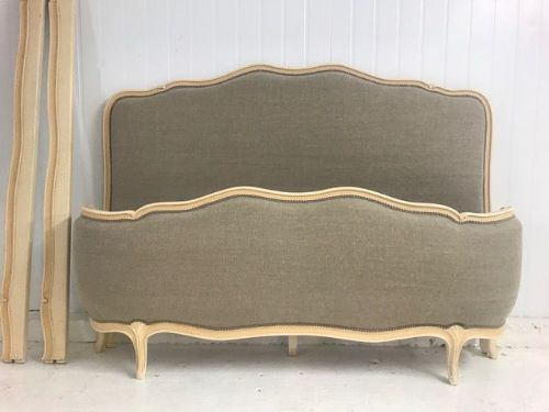Vintage Upholstered French King Size Bed - New Upholstery -  cv04